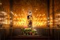 Картинка цветы, Дева Мария, свечи, статуя