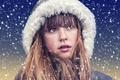 Картинка портрет, капюшон, лицо, девочка, снег