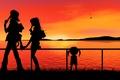 Картинка Девушка, парень, закат, вода, любовь