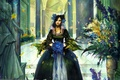 Картинка Девушка, цветы, рисунок, лепестки, листья, бант
