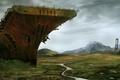 Картинка корабль, остов, мост, постапокалипсис, арт, долина, разруха, авианосец, река
