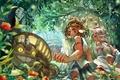Картинка девочка, аниме, лес, арт