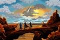 Картинка небо, скалы, облака, живопись, пустыня, люди, пейзаж