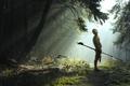 Картинка волосатик, копье, свет, лес, воин