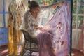 Картинка комната, картина, свет, окно, арт, платок, листья, девушка, Vicente Romero, ткань