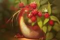 Картинка дракон, ягоды, красный, арт, малина