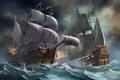 Картинка шторм, корабли, арт, парусник, битва, море, волны, бой