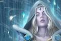 Картинка девушка, снег, арт, блондинка, цепь, Crystal Maiden, Dota 2, ледяные стрелы, Rylai, Jzjayfanser