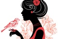 Картинка стиль, бусы, ресницы, рука, украшения, птичка, профиль, цветок, волосы, девушка, силуэт