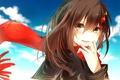 Картинка небо, девушка, облака, радость, аниме, шарф, слезы, арт, kagerou project, tateyama ayano, chunnkoromochi