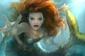 Картинка взгляд, арт, русалка, рука, волосы, плавник, вода, хвост, фэнтази