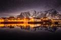 Картинка звезды, посёлок, Норвегия, ночь, огни, горы, север, небо
