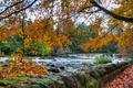 Картинка листья, осень, пороги, река, водопад