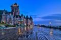 Картинка Квебек, город, замок, скамейки, вечер, Château Frontenac, Québec, Шато-Фронтенак, мостовая, Канада