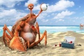 Картинка краб, 3D Art, напиток, funny, пляж, вода, океан, лимонад