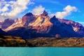 Картинка небо, облака, горы, Чили, Южная Америка, Национальный парк Торрес-дель-Пайне, Lake Pehoé