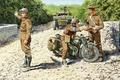 Картинка блокпост, Triumph 3HW, солдаты, Вторая мировая война, мотоцикл, военный, британский