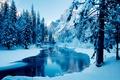 Картинка зима, деревья, горы, река, лёд