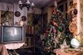 Картинка комната, ёлка, праздник, телевизор