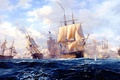 Картинка картина, корабли, парусник, море, волны, морской бой, небо, копенгаген, облака