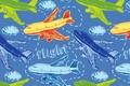 Картинка небо, облака, рисунок, арт, турбины, иллюминатор, flight, самолёты, крыль