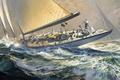 Картинка море, волны, яхта, арт, Russ Kramer