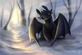 Картинка взгляд, игра, снег, art, дракон, как приручить дракона, How to Train Your Dragon, Rom-Art, ночная ...