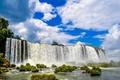 Картинка Бразилия, водопад, Iguazu Falls, кочки, Brazil, Водопад Игуасу, небо, облака