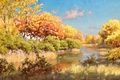 Картинка осень, небо, вода, облака, деревья, пейзаж, река, утки, картина, деревня, берега, Johan Krouthen