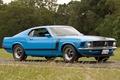 Картинка Форд, Мускул кар, Muscle car, 1970, дорога, Boss 302, Босс, передок, Мустанг, синий, Mustang, Ford