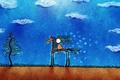 Картинка Лошадь, человечек, облака, рисунок