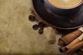 Картинка кружка, фон, чашка, кофе, сахар, блюдце, зерна, корица
