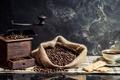 Картинка чашка, кофейные зёрна, кофе, кофемолка