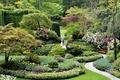 Картинка цветы, парк, скамейка, деревья, кусты, тюльпаны, дорожка, газоны, Канада, клумбы, Butchart Gardens