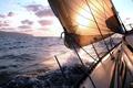 Картинка море, волны, небо, пена, вода, брызги, океан, ветер, widescreen, настроения, лодка, пейзажи, корабль, корабли, яхта, ...