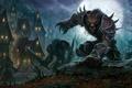 Картинка World-of-warcraft, фантастика, волки, воины, ночь, фэнтези