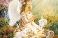 Картинка девочка, ребёнок, венок, ангел, зайцы, енот, girl, птицы, baby, крылышки, Angel, белки