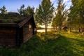 Картинка Норвегия, vestby, hedmark fylke, озеро, берег, дом, изба, деревья