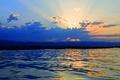 Картинка озеро, армения, горы, небо, облака, закат