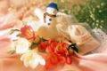 Картинка Снеговик, цветы, новый год