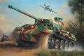 Картинка hawker tempest, ww2, painting, geman panzer, sherman tank, panther tank, army, art, drawing, war