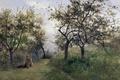 Картинка картина, природа, деревья, Карлос де Хаэс, девушка, Яблони в Нормандии, трава, пейзаж