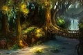 Картинка мост, дорожки, арт, водопад, деревья, лес