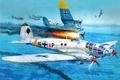 Картинка небо, война, Арт, немецкий, средний, Heinkel, бомбардировщий, Kampfgeschwader 27, He.111