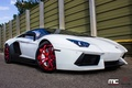 Картинка Lamborghini, red, white, wheels, aventador, vellano