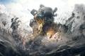 Картинка Titanfall, Дым, Respawn Entertainment, Огни, Небо, Electronic Arts, Облака, Титан, Пыл, Робот