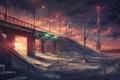Картинка мост, снег, арт, фонарь, зима, ветер, светофор, ночь, вышка