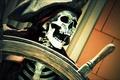 Картинка шляпа, пират, скелет, челюсть, штурвал