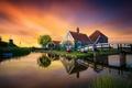 Картинка мост, The Netherlands, отражение, дома, мельница, музей, канал, Нидерланды, Zaanse Schans, Зансе-Сханс, закат