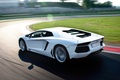 Картинка белый, газон, суперкар, lamborghini, блик, гоночный трек, aventador, lp700-4, ламборгини, авентадор